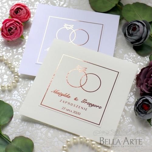 Złocone Posrebrzane zaproszenia ślubne obrączki