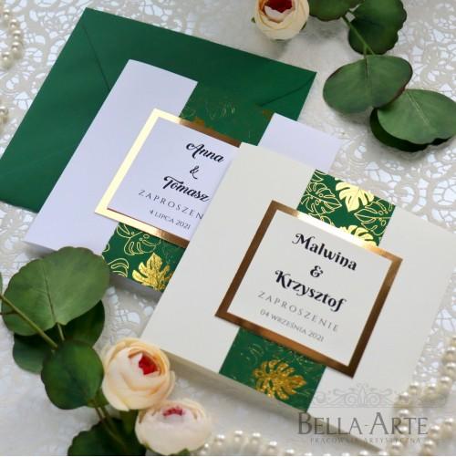 Liście Monstera złota zielona Zaproszenia ślubne Złocone Glamour
