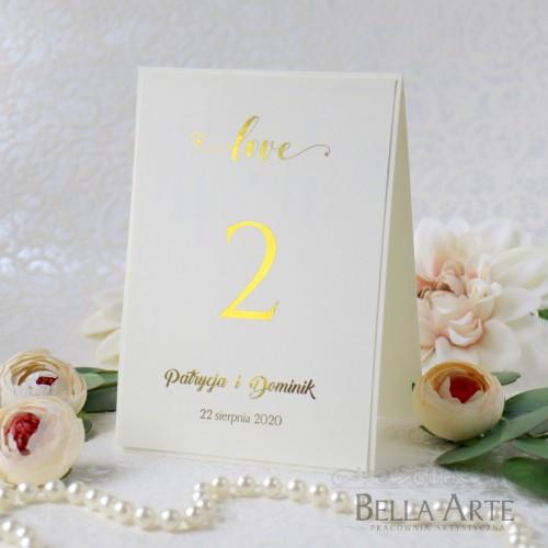 Numery stołów LOVE  Złocone Srebrne Posrebrzane Glamour