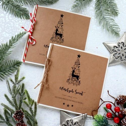 EKO firmowe kartki świąteczne ekologiczne Kraft dla firm biznesowe LOGO