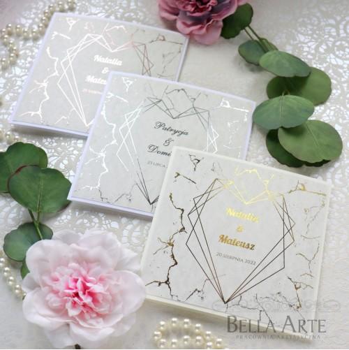 Zaproszenia zawiadomienia ślubne na ślub szary Marmur