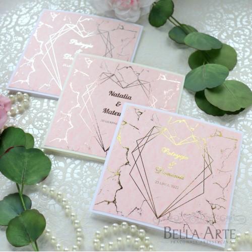 Zaproszenia zawiadomienia ślubne na ślub różowy Marmur