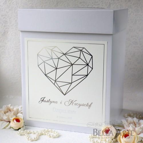 Pudełko na koperty kopertówka Geometryczne Serce Złocone Glamour