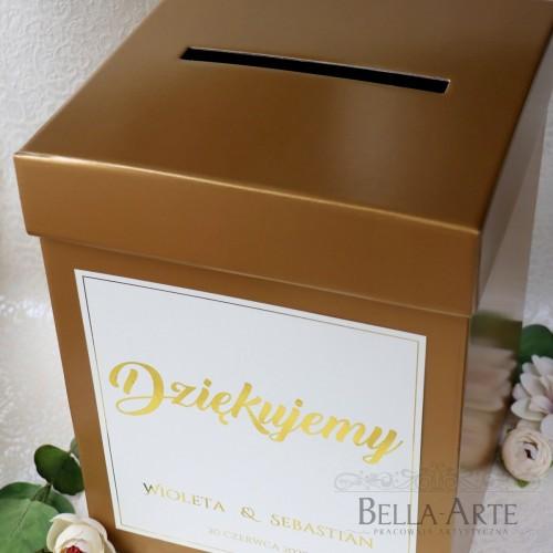 Pudełko na koperty kopertówka Glamour Złote