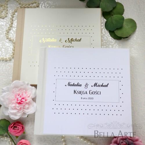 Złocona Srebrna Księga Gości wpisów weselnych Glamour