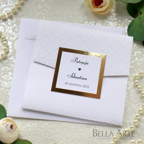 Eleganckie zaproszenia ślubne z tłoczeniem Mirror