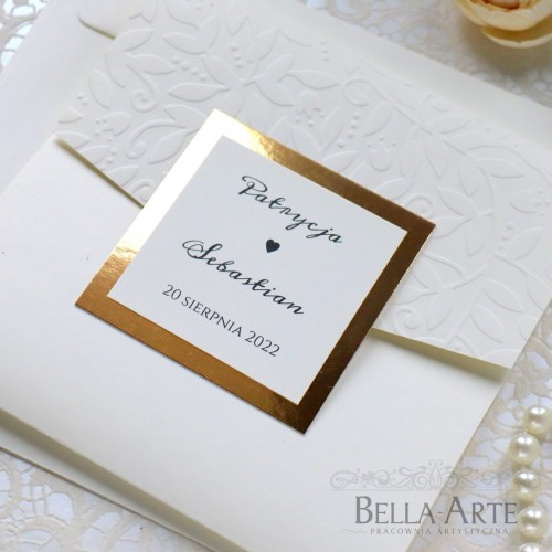 Eleganckie zaproszenia ślubne z tłoczeniem i lustrzanym papierem Mirror