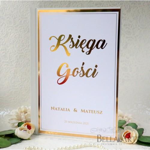 Złocona Księga Gości wpisów weselnych Złota Mirror Glamour