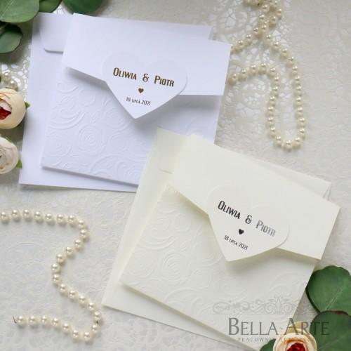 Zaproszenia ślubne z Sercem Złocone Srebrne