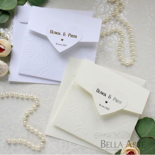 Złote Srebrne zaproszenia ślubne zawiadomienia Glamour z sercem