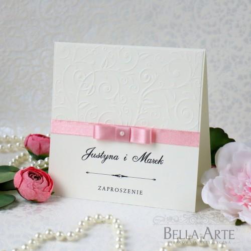 Klasyczne Zaproszenia ślubne Amelia wedding ślub z tłoczeniem