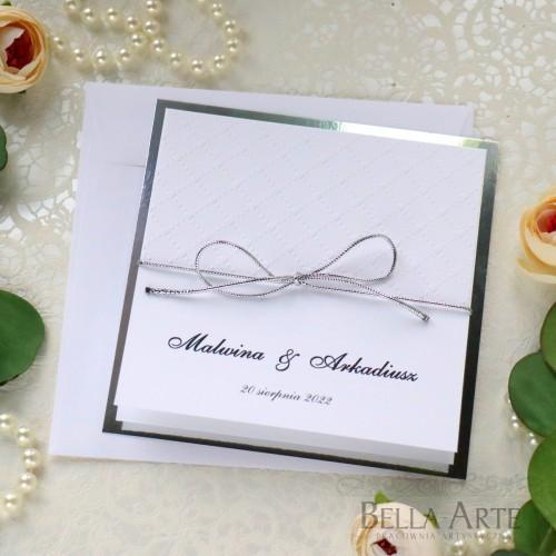 Klasyczne Srebrne Zaproszenia ślubne Amelia wedding ślub z tłoczeniem Mirror