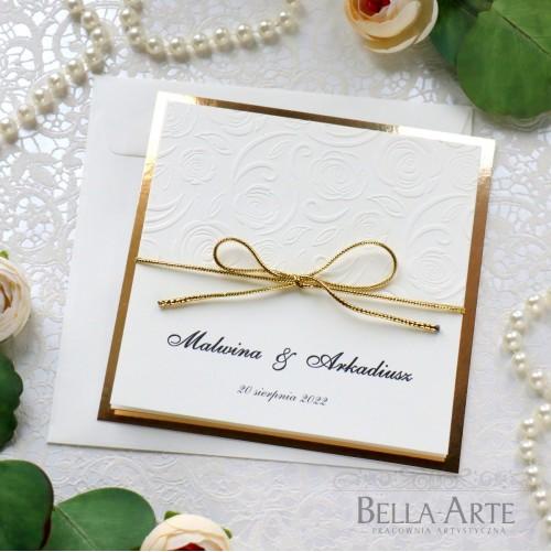 Klasyczne Złote Zaproszenia ślubne Amelia wedding ślub z tłoczeniem Mirror