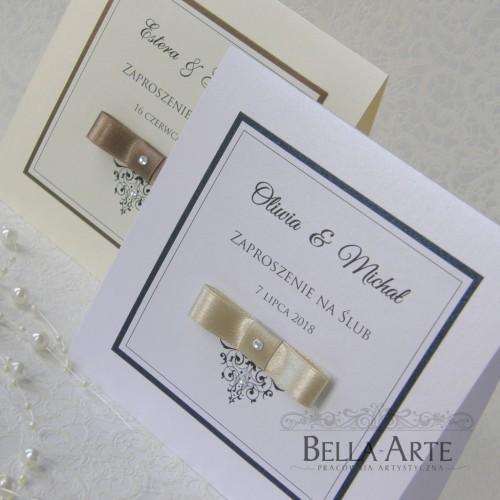 Kwadratowe zaproszenia ślubne Elegante