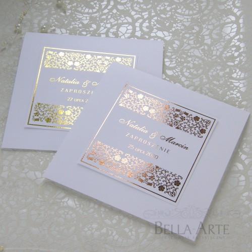 Złocone zaproszenia ślubne Glamour