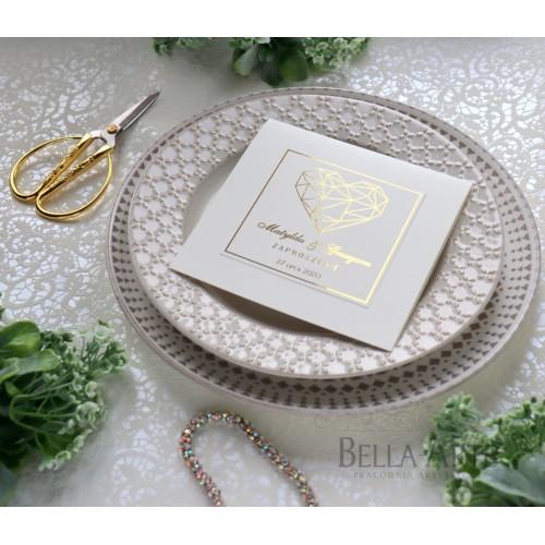 Geometryczne Serce zaproszenia złocone Glamour